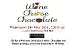 May 18th 2016 - Cheese, Chocolate and Wine Tasting @Lassco